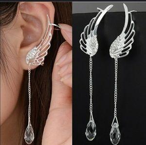 Angel wing rhinestone ear cuff dangle earrings